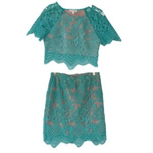 L'atiste By Amy Teal Green Lace Top & Skirt Set M